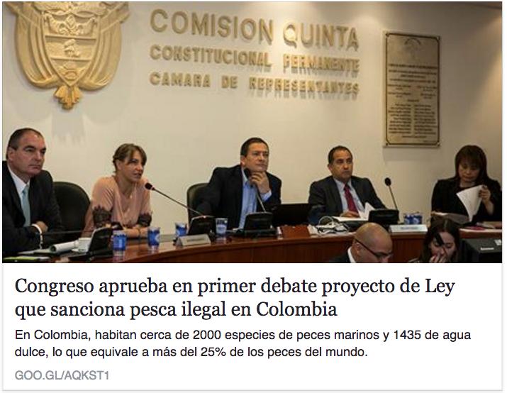 Congreso aprueba en primer debate proyecto de Ley que sanciona pesca ilegal en Colombia