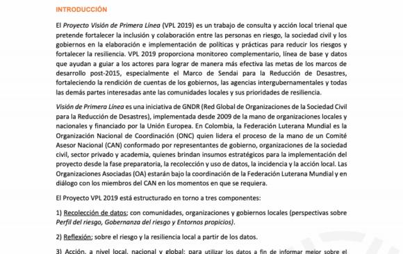 CONVOCATORIA PROYECTO VISIÓN DE PRIMERA LÍNEA 2019