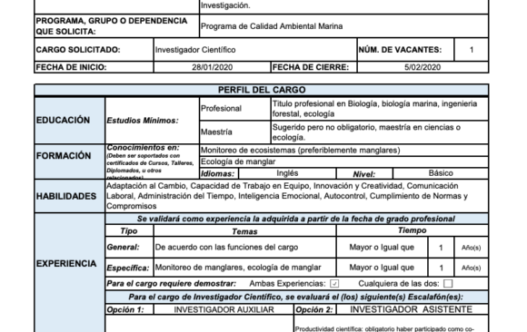 CONVOCATORIA INVESTIGADOR CIENTIFICO- INVEMAR